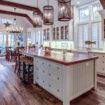 Beautiful luxury kitchen and dining room with view windows.